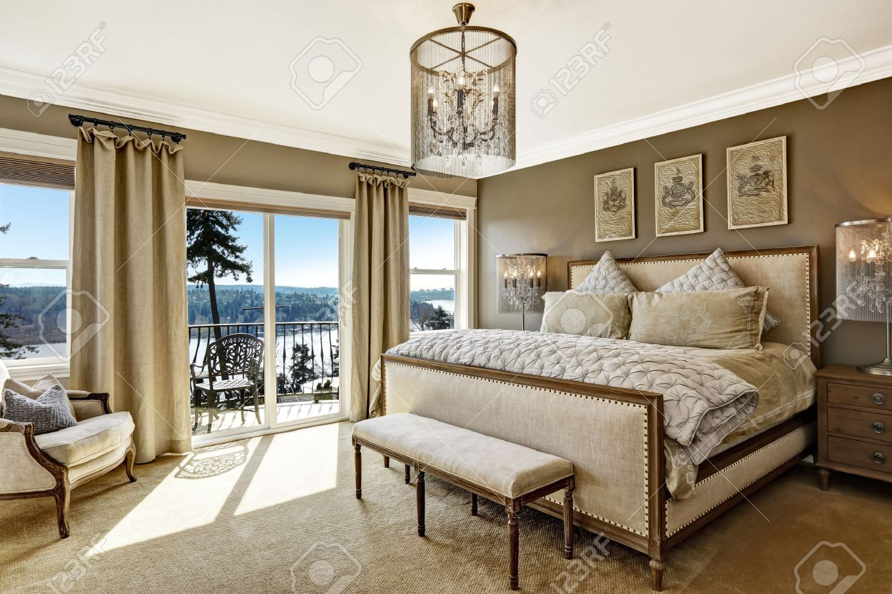 High Quality Luxury Bedroom Interior With Rich Furniture And Scenic View From Walkout  Deck Stock Photo   30507671