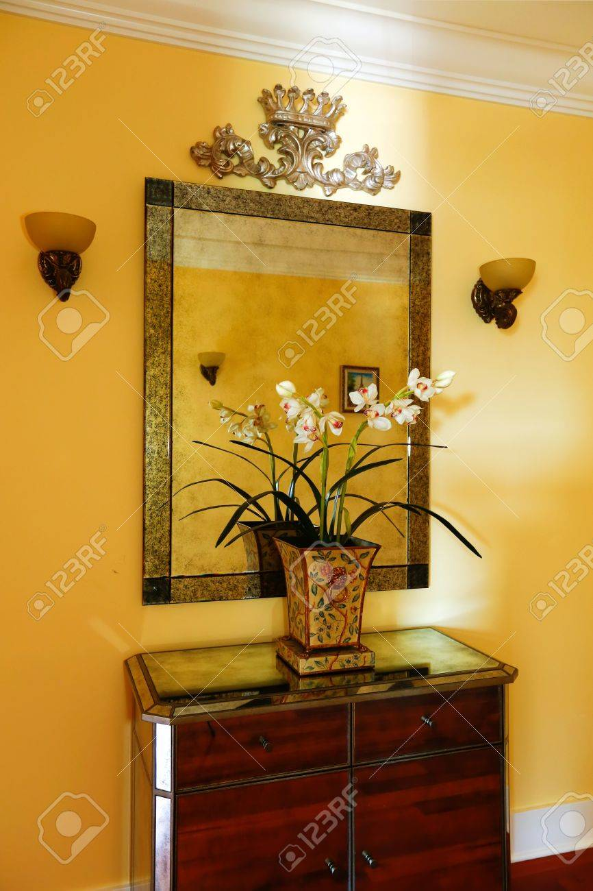 Wooden Cabinet With Decorative Flowers And Mirror In Bright Yellow ...