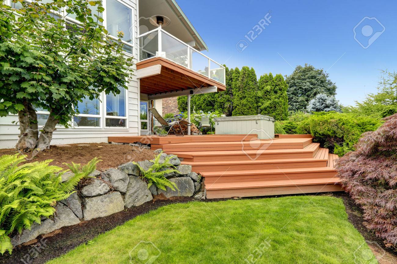 House Exterior With Beautiful Landscape Design View Of Walkout Stock Photo Picture And Royalty Free Image Image 30735325