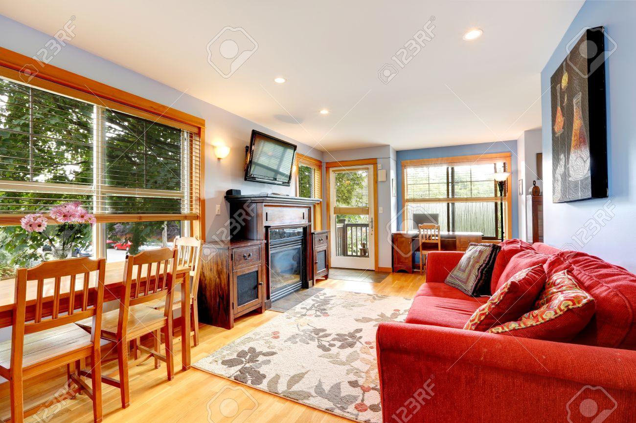 Living Room With Dining Table House Interior With Old Furniture Living Room With Bright Red