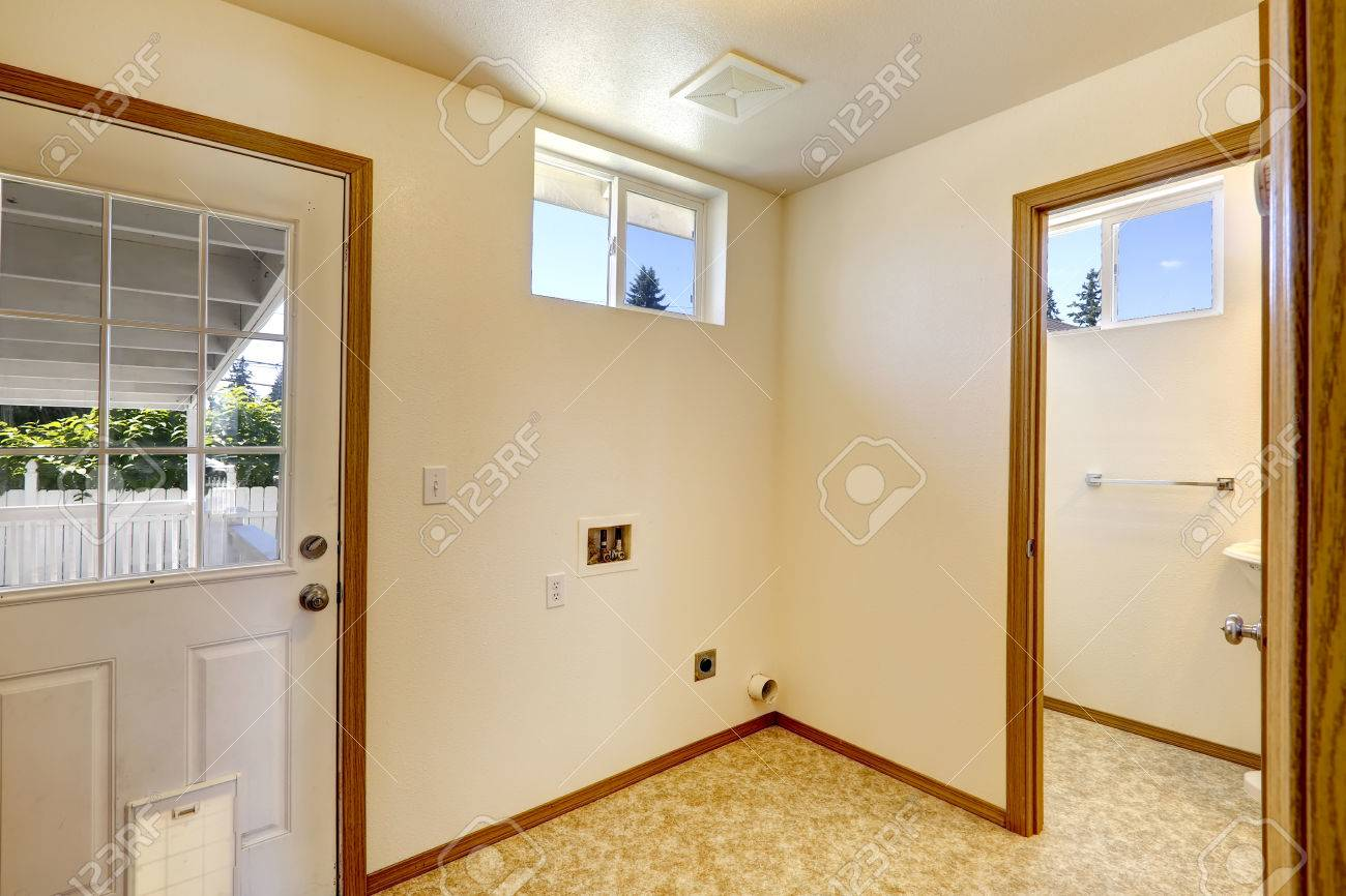 empty house interior in soft ivory color and linoleum. stock photo