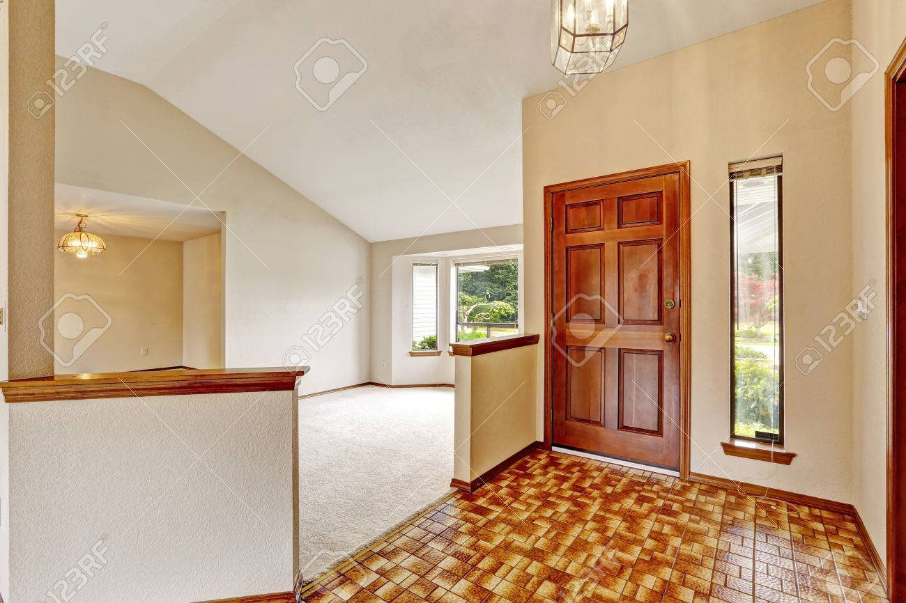 empty house interior. entrance hallway with brown linoleum and
