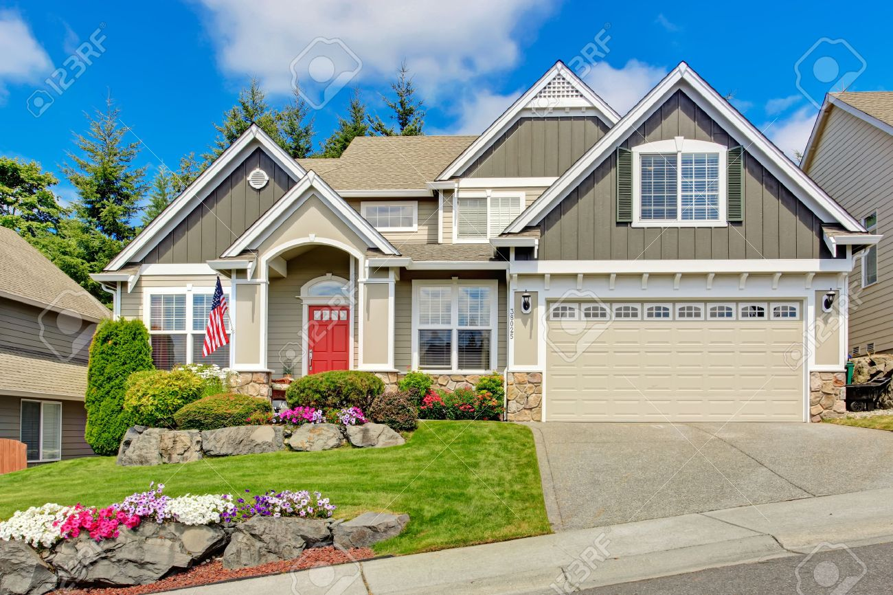 red door grey house. Grey House Exterior With Entrance Porch And Red Door. Beautiful Front Yard Landscape Vivid Door O