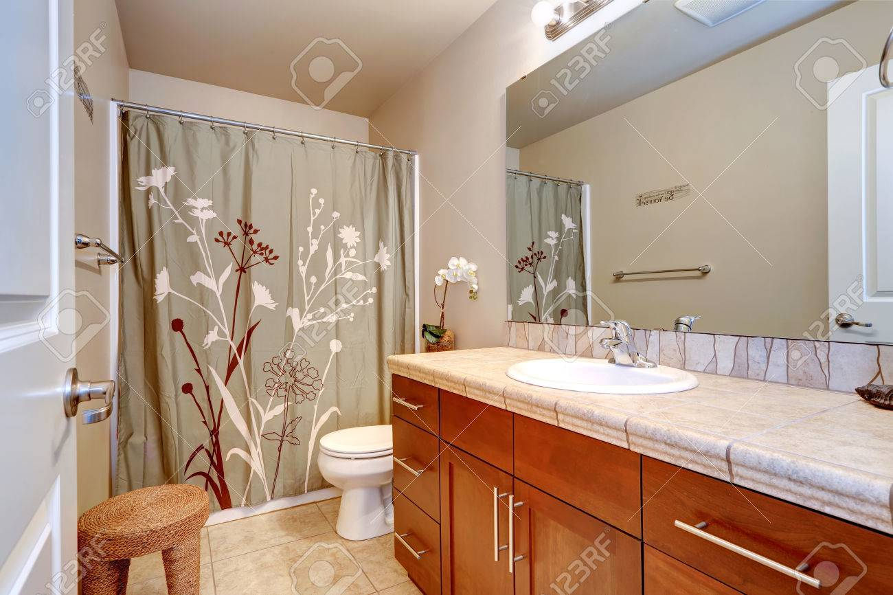 Bathroom Interior In Soft Ivory Color With Wooden Vanity Cabinet Stock Photo Picture And Royalty Free Image Image 31078204