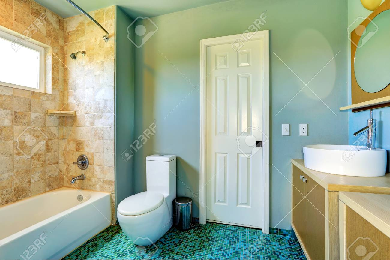 Light Blue Bathroom Interior With Modern Vanity Cabinet With Stock Photo Picture And Royalty Free Image Image 31087912