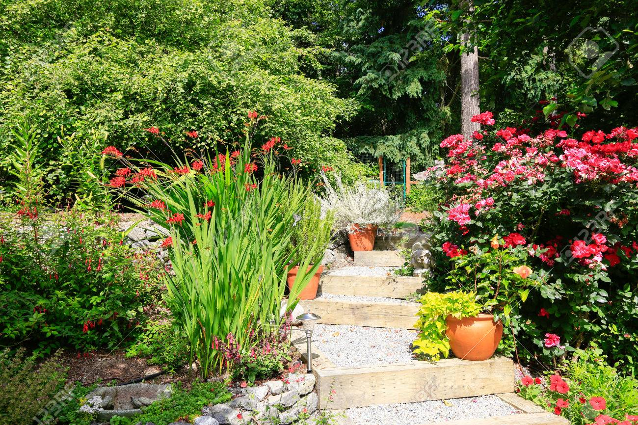 Landscape Ideas For Home Garden. Stairs With Blooming Flowers ...