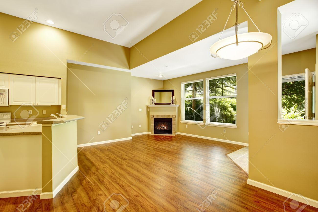 empty apartment with open floor plan. living room with hardwood