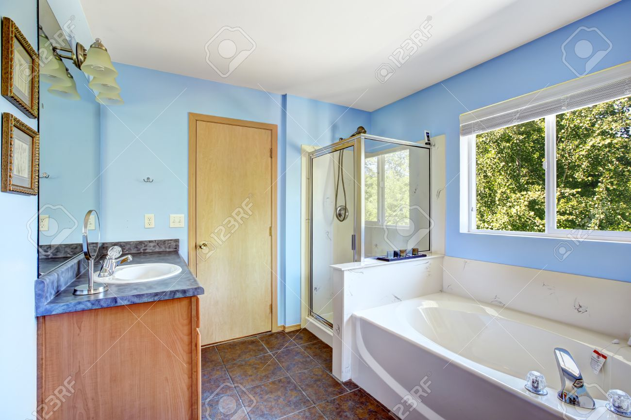 Bathroom Interior With Blue Walls And Rust Tile Floor. White.. Stock ...