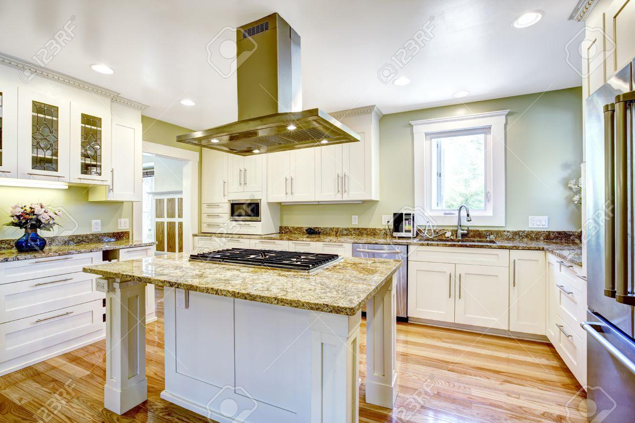 Diseño de la sala de la cocina moderna y práctica. Mueble blanco con  encimera de granito, isla de cocina con una función de estufa y campana de  acero