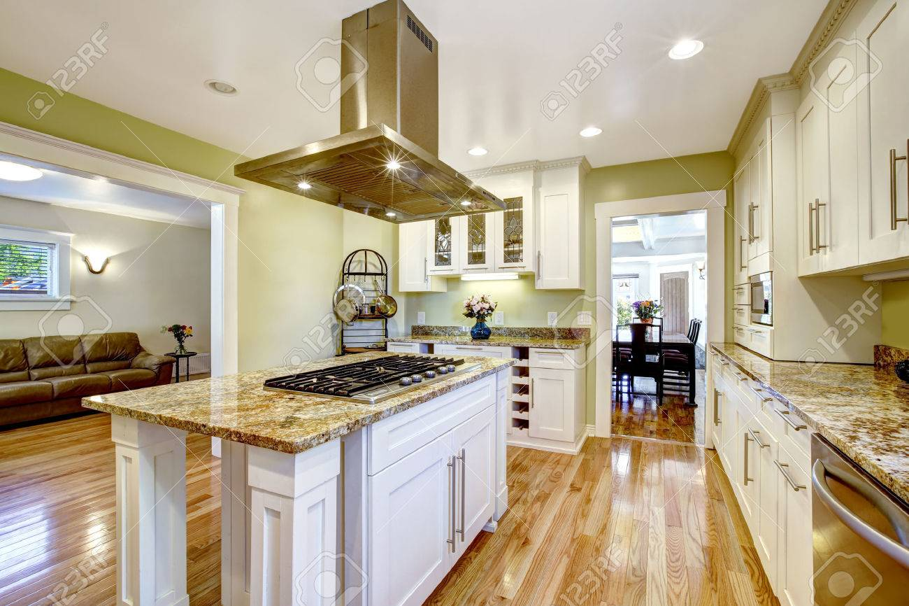 Modern And Practical Kitchen Room Design. White Cabinet With.. Stock ...