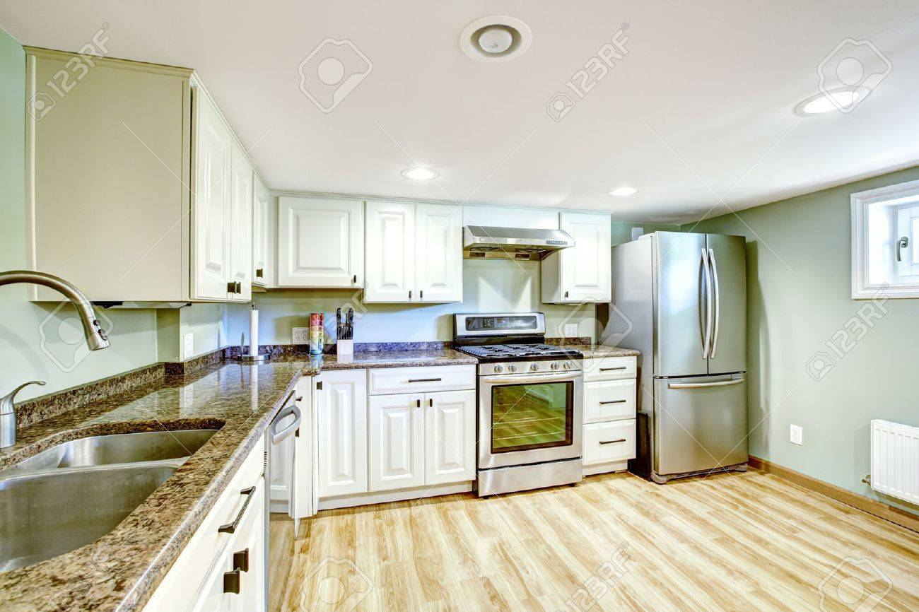 In Law Basement Apartment. White Basement Kitchen Room Mother In Law Apartment Stock Photo 31305906