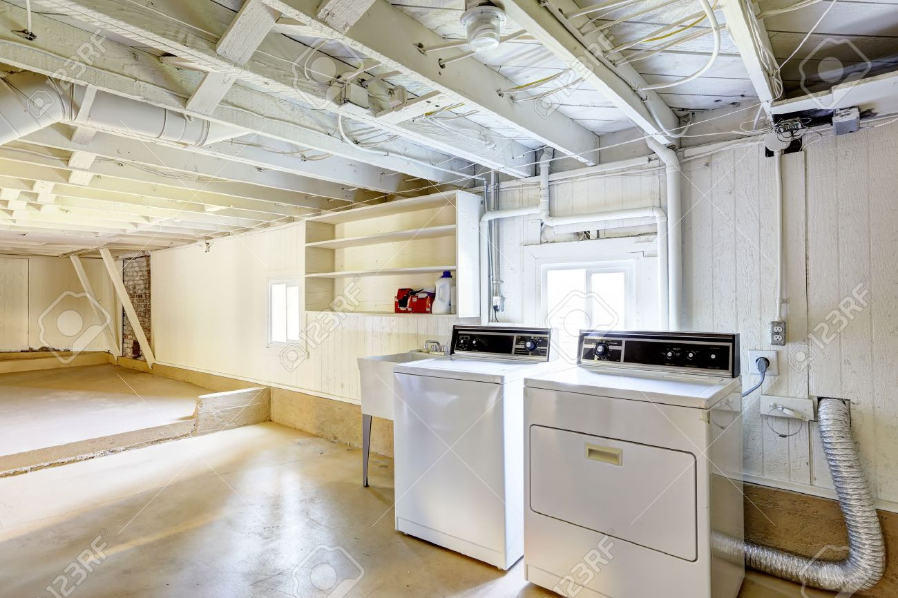 Spacious Empty Basement With Laundry In American House Stock Photo ...