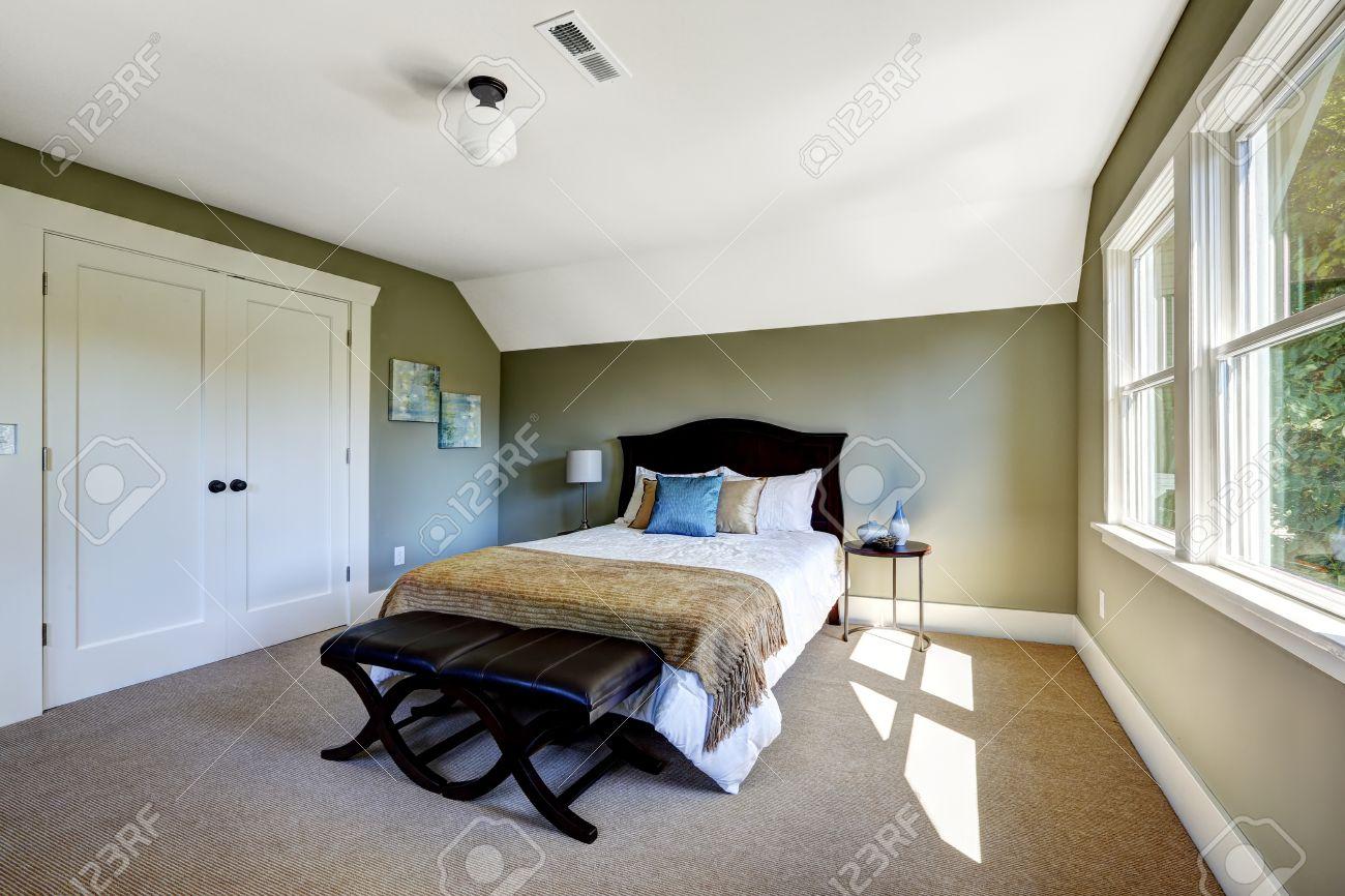 Interieur slaapkamer met beige vloerbedekking en groene muren ...