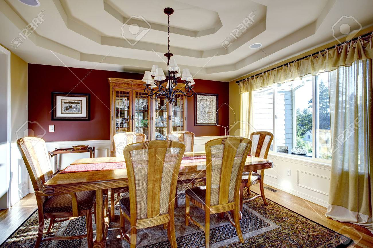 Dining Room With Coffered Ceiling, Burgundy And Yellow Walls ...