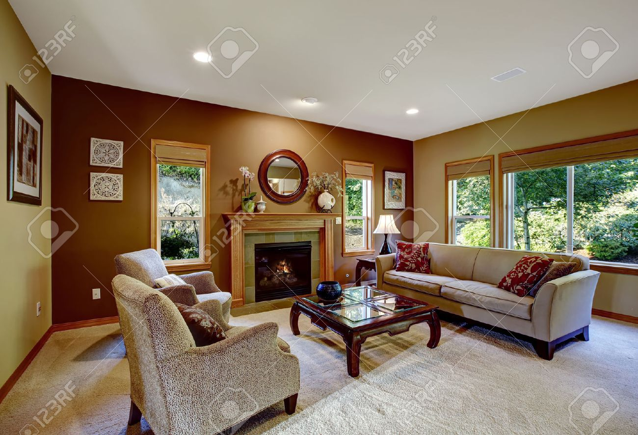 Super Living Room With Brown And Mustard Walls Furnished With Couch Short Links Chair Design For Home Short Linksinfo