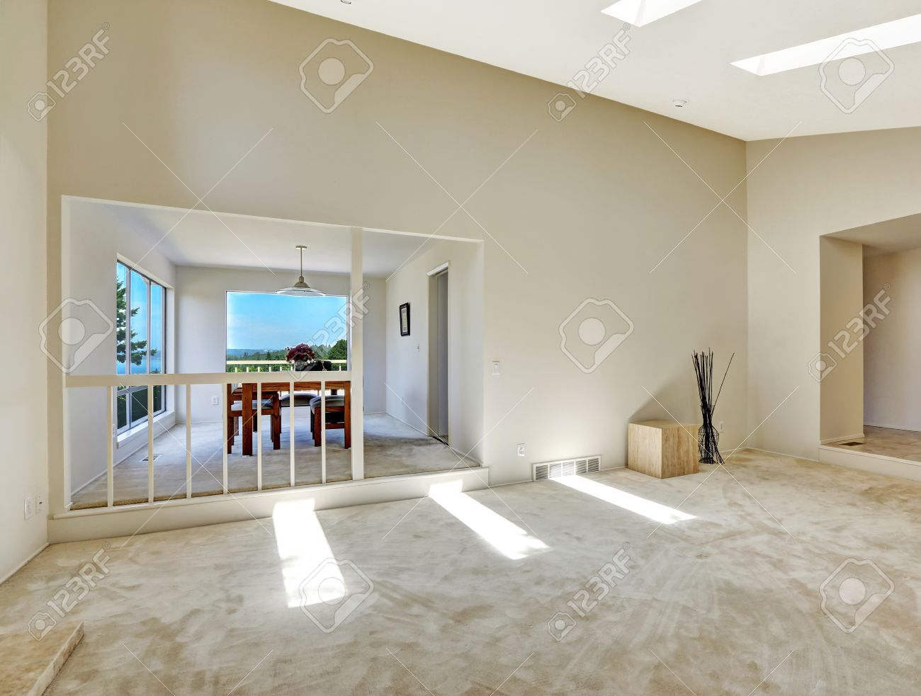 Floor Plan In Empty House. Beautiful Living Room With Vaulted ...
