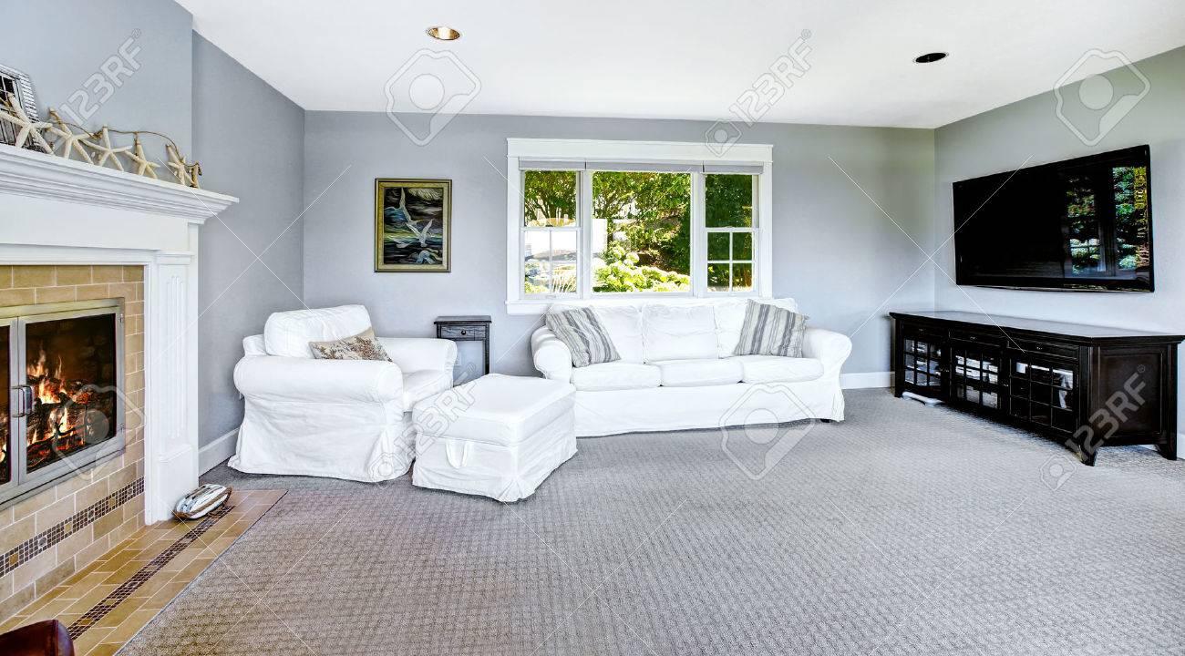 luce blu soggiorno con divano bianco, poltrona, tv e camino foto ... - Soggiorno Bianco E Blu