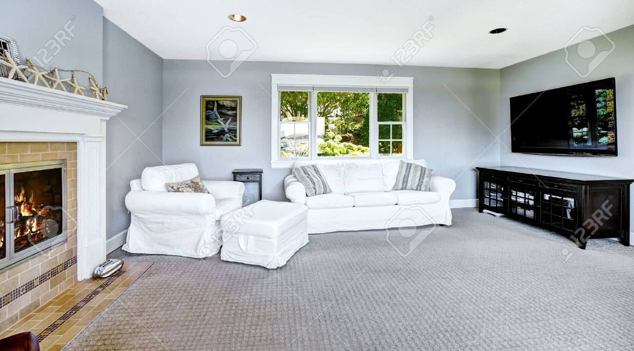 Light Blue Living Room With White Sofa, Armchair, TV And Cozy ...