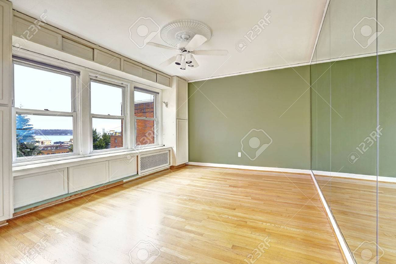 empty apartment interior in old residential building with bay