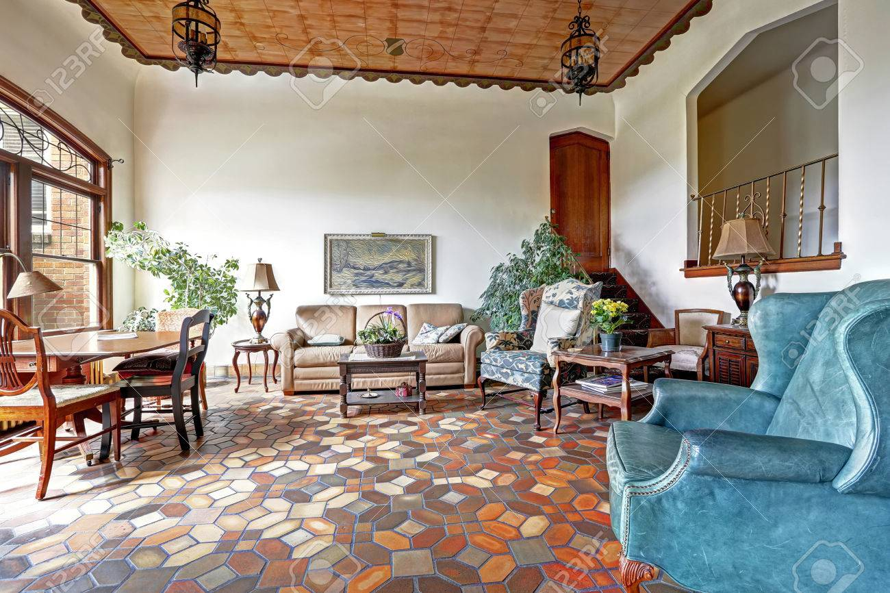 Foyer In Old Residential Building In Downtown, Seattle. Mosaic Tile Floor,  Decorated Ceiling
