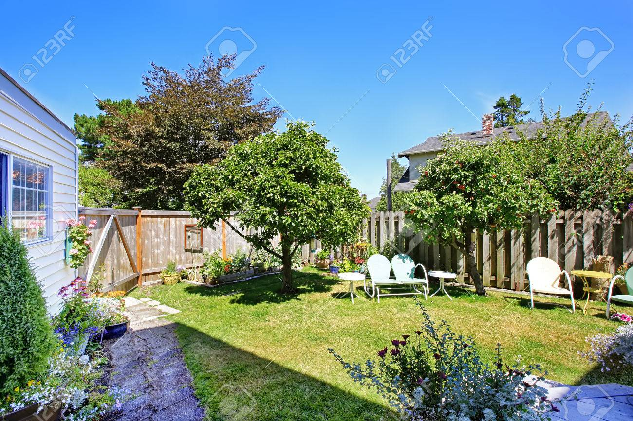 fenced backyard garden with sitting area and apple trees stock