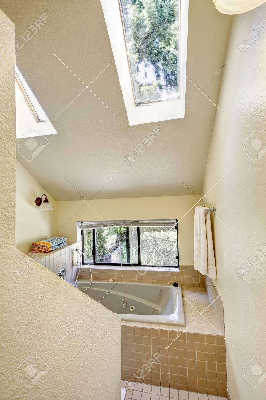 Bagno con finestra, alto soffitto a volta e slylights. vasca da ...