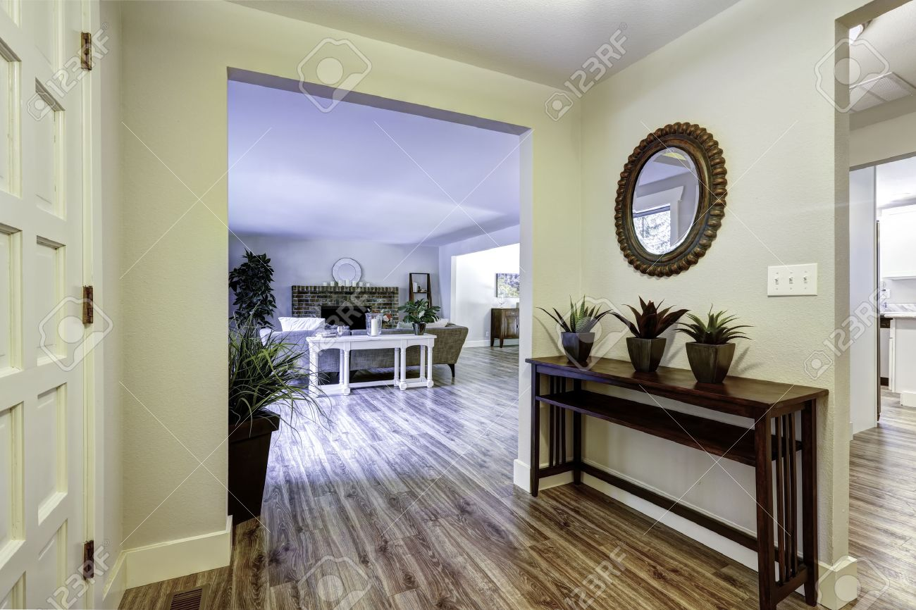 Entrance Hallway With Table And Flower Pots View Of Spacious