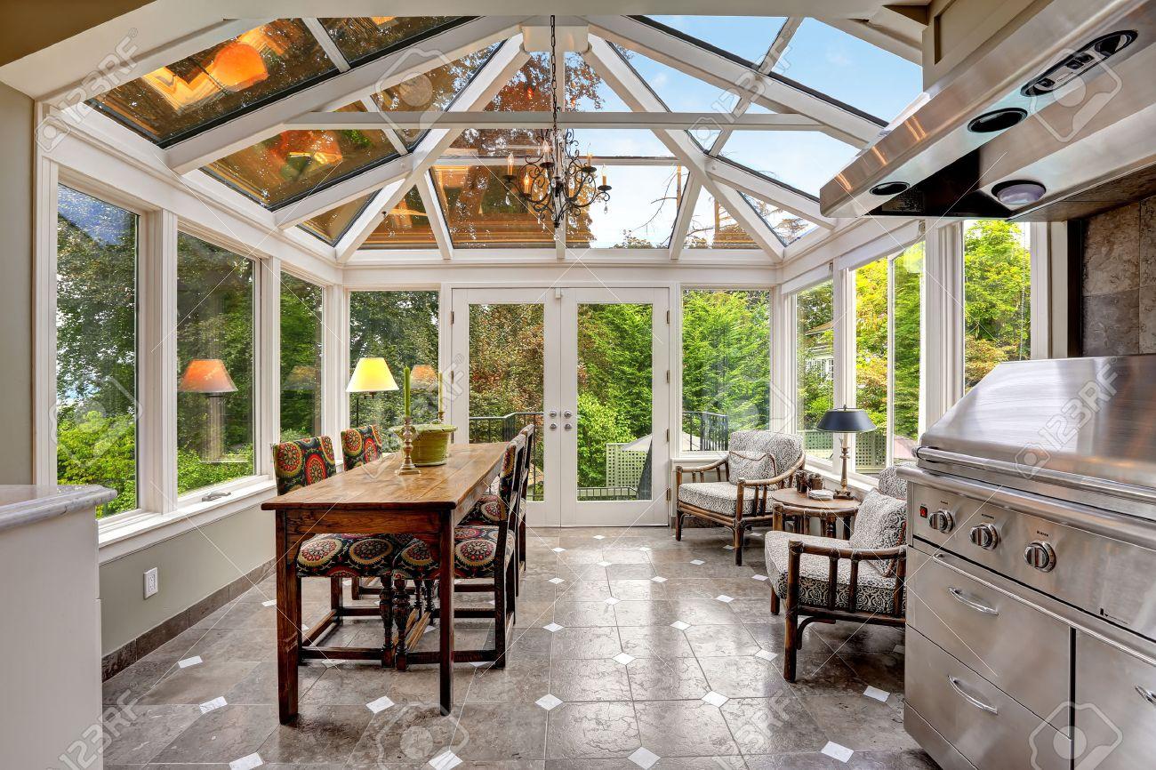 patio terraza acristalada con techo abovedado barbacoa de acero con juego de campana y with terraza acristalada