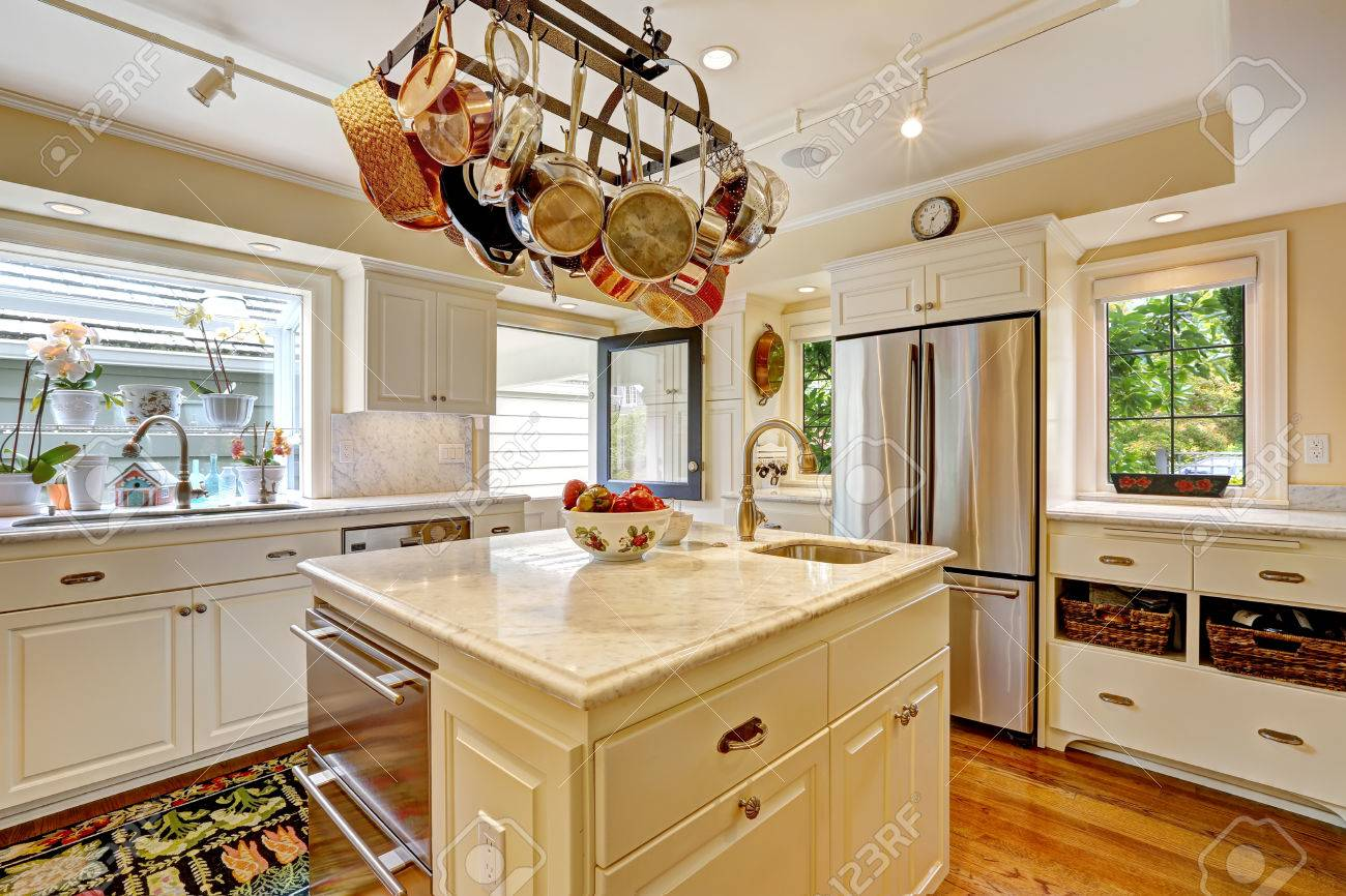 Hanging Pan Racks For Kitchen White Kitchen With White Granite Tops Island And Hanging Pot