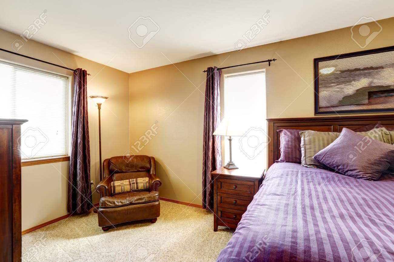 Master Bedroom Interior Rich Furniture Set With Bright Purple