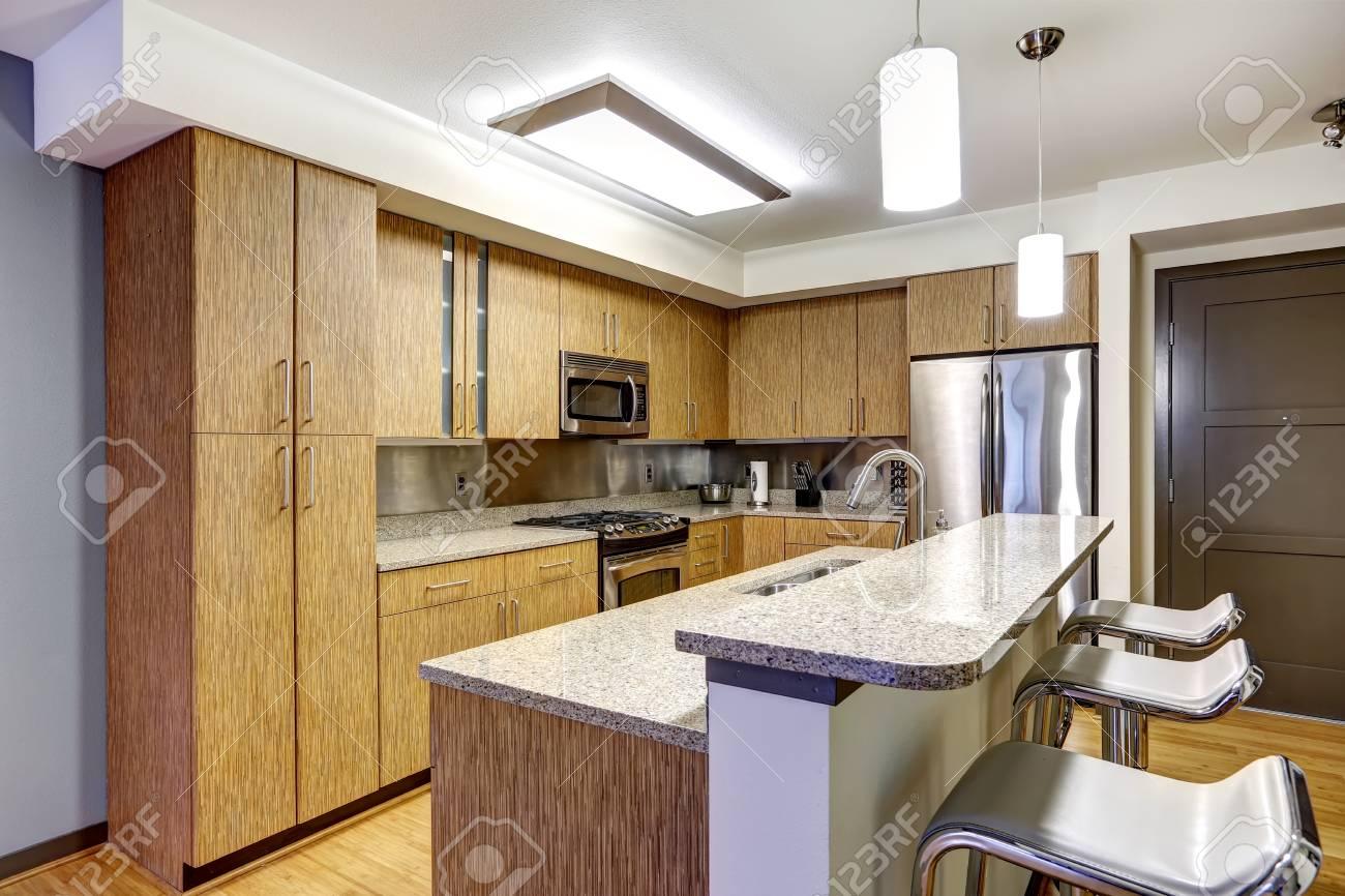 Küche Interieur Im Modernen Wohnung. Kücheninsel Mit Spüle Und ...