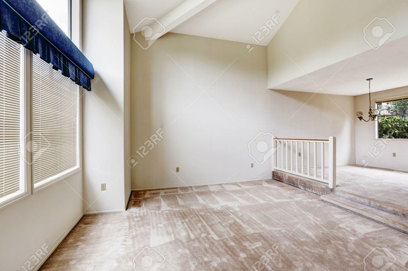 Empy Haus Interieur Mit Hohen Gewlbten Decke Und Teppichboden Wohnzimmer Essbereich Gelnder