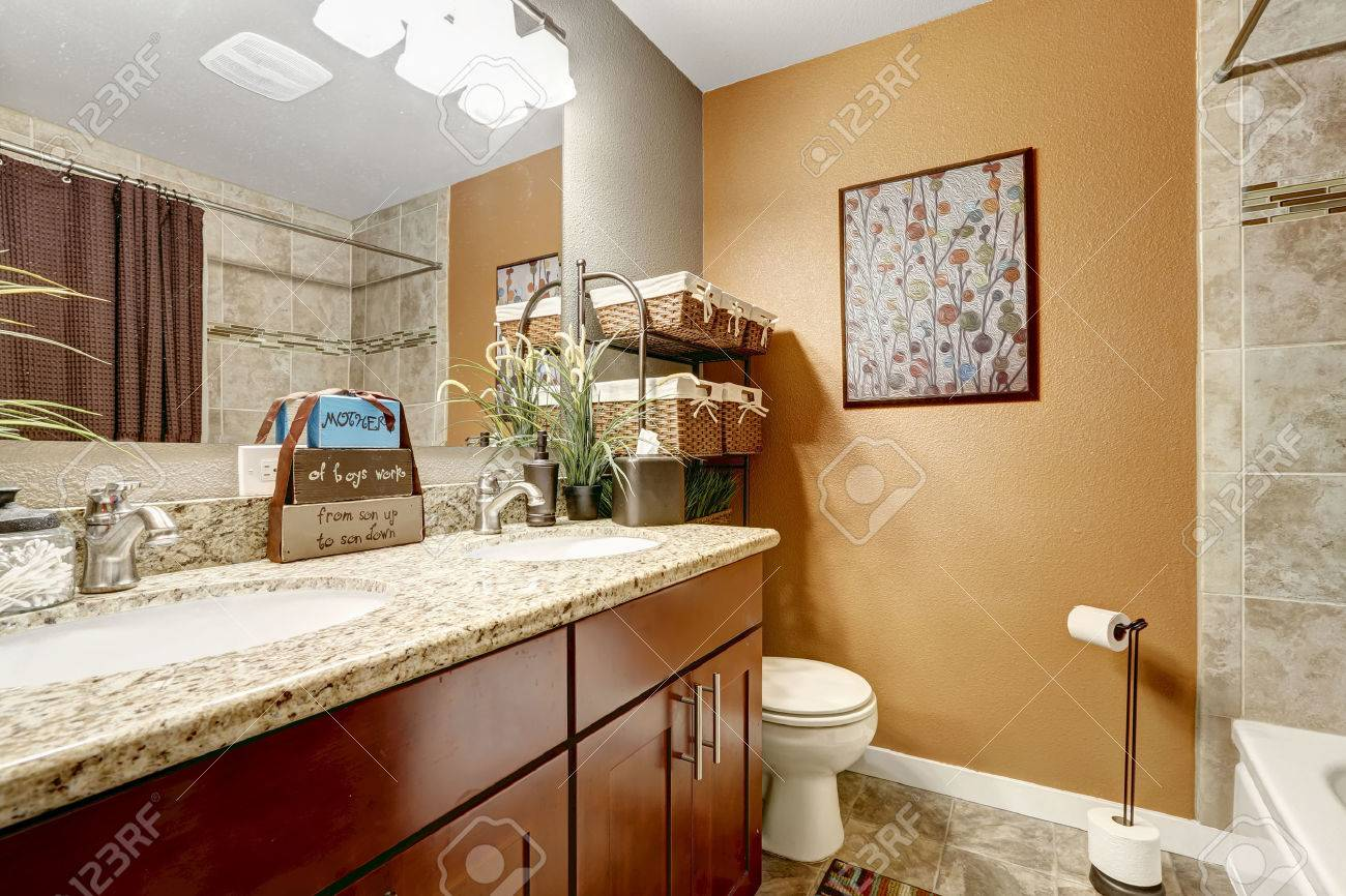 sale retailer 76076 39461 Bathroom vanity cabinet with granite top, green decorative plants..