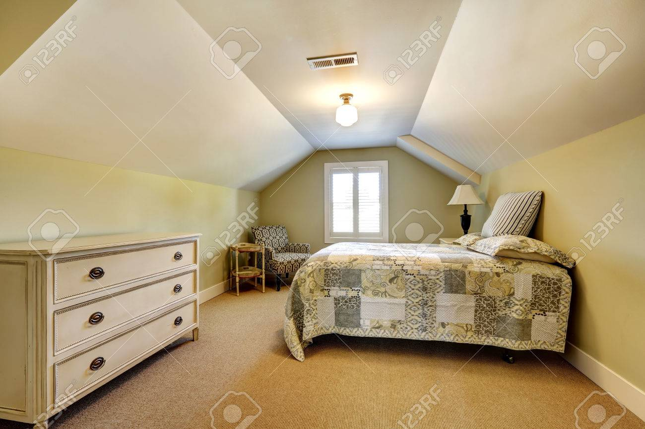 Simple Bedroom With Single Bed simple bedroom interior with vaulted ceiling. single bed with