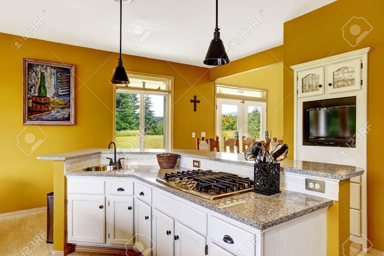 Bauernhaus Interieur. Luxus-Küche Raum Mit Weißen Schrank. Kabinett ...