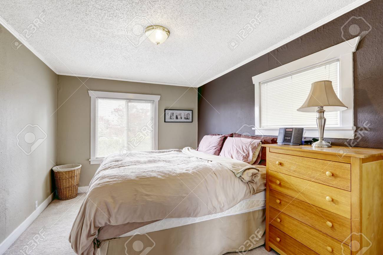 Chambre Avec Lit Queen Size Confortable Mur De Couleur De Contraste De Couleurs Gris Fonce Et Brun Clair
