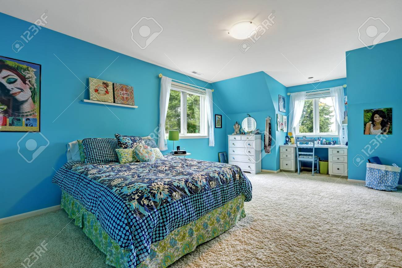 Beautiful Girls Room Interior With Bright Blue Walls And Studying Stock Photo Picture And Royalty Free Image Image 32041882
