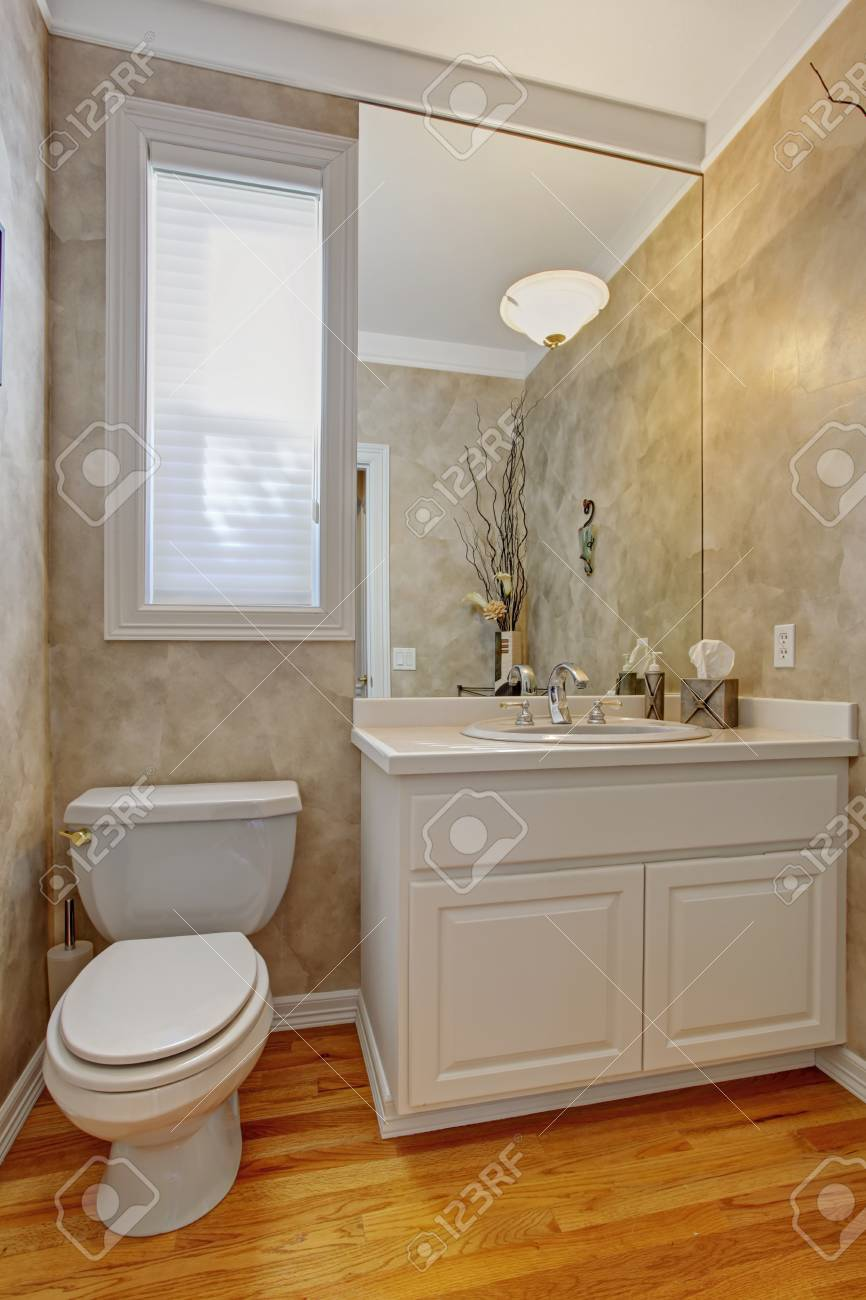 Restroom Interior With Hardwood Floor Grey Walls Refreshing Stock Photo Picture And Royalty Free Image Image 32370455