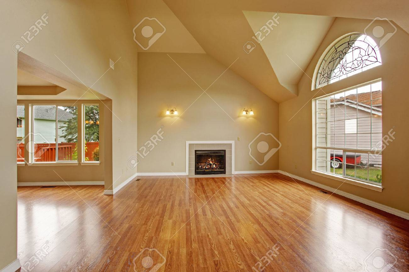 Big Empty Living Rooms - Spacious living room with high ceiling big arch window fireplace and new hardwood floor