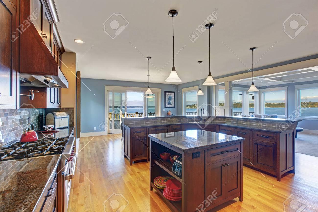 luxury kitchen with dark brown storage combination kitchen island