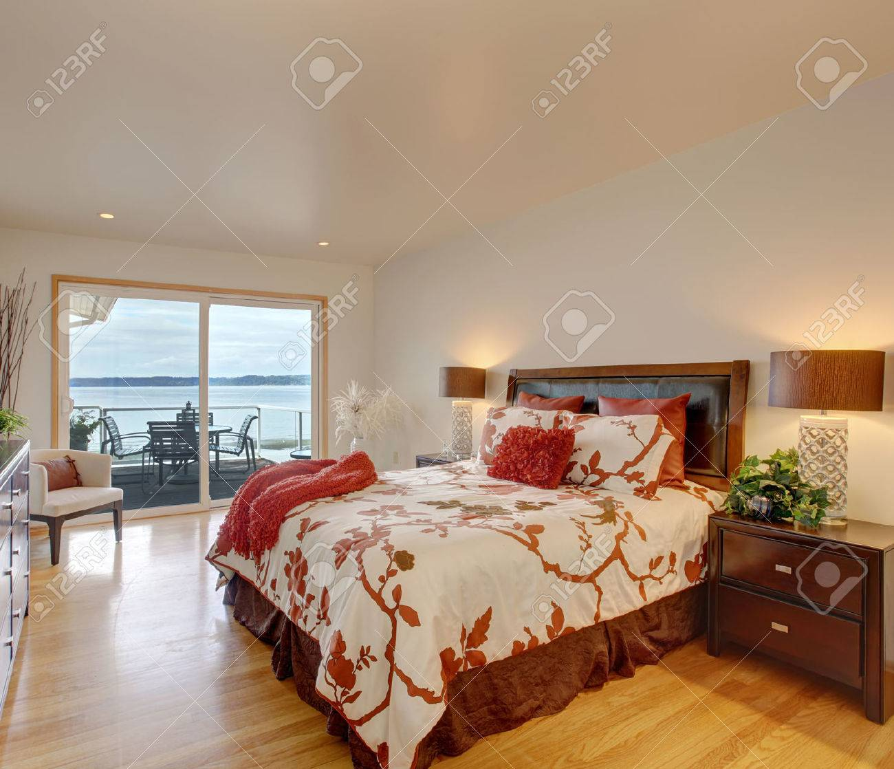 Romantic Master Bedroom Interior With Walkout Deck Bed With