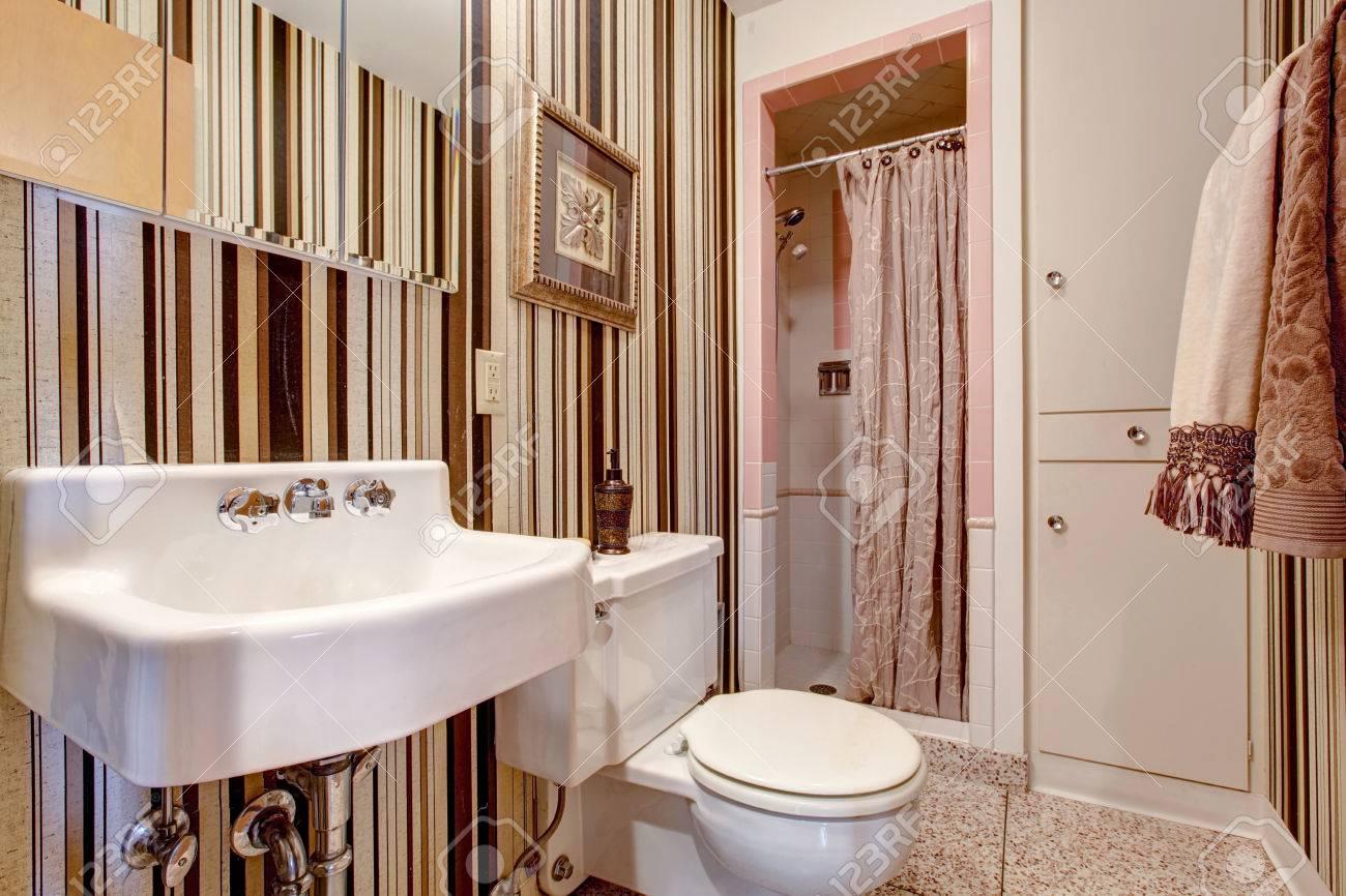 Petite Salle De Bains Avec Du Papier Peint Depouille Brun Douche Avec Carrelage Blanc Et Rose Garniture Mur
