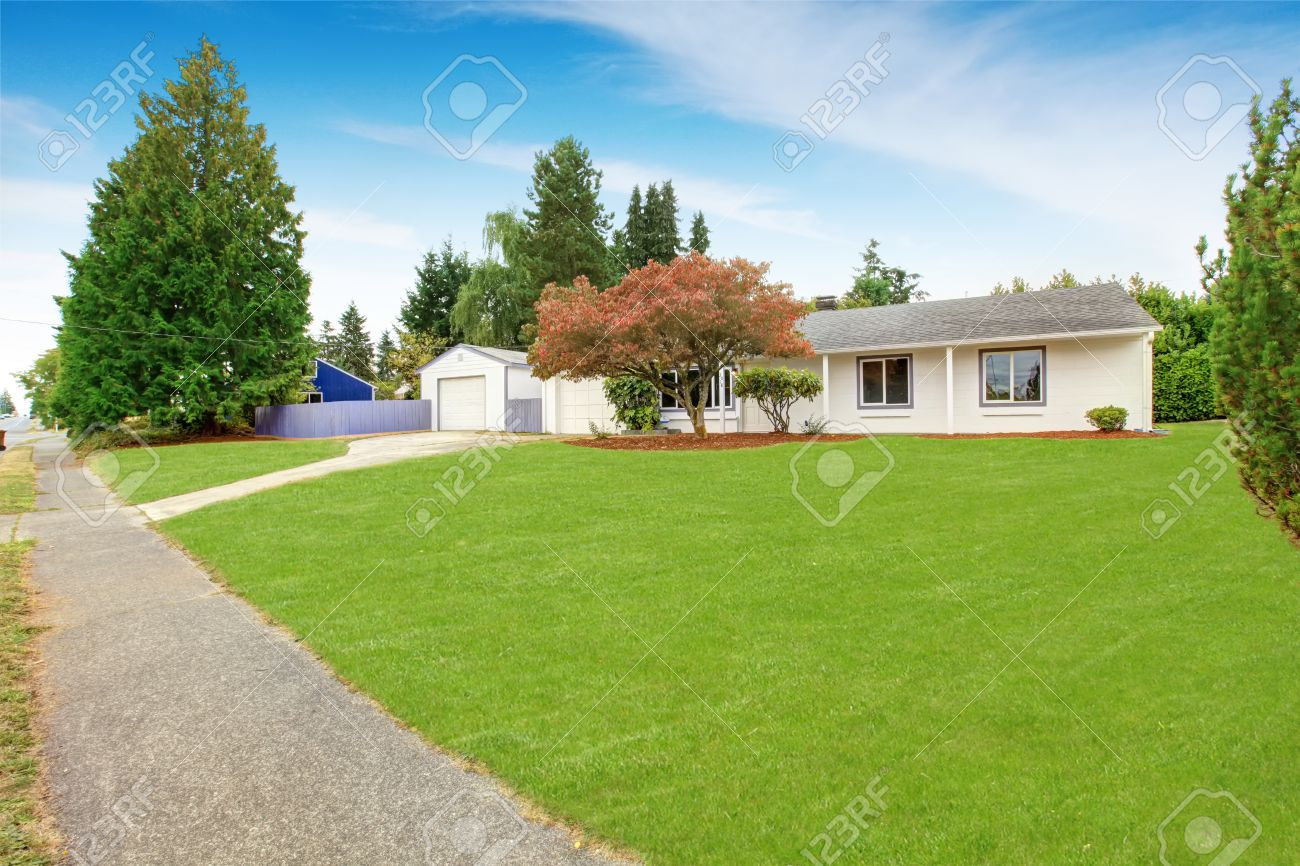 Simple House Exterior In White Color. Large Front Yard With Lawn ...