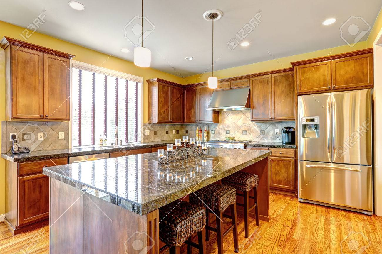 Luxury Kitchen Room With Modern Storage Combination And Steel Stock Photo Picture And Royalty Free Image Image 32698975