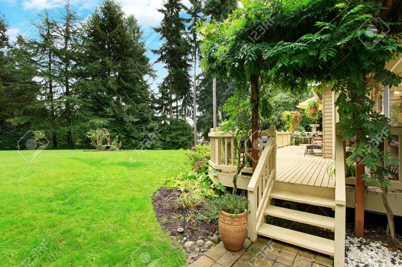 wooden walkout deck with stairs overlooking backyard landscape