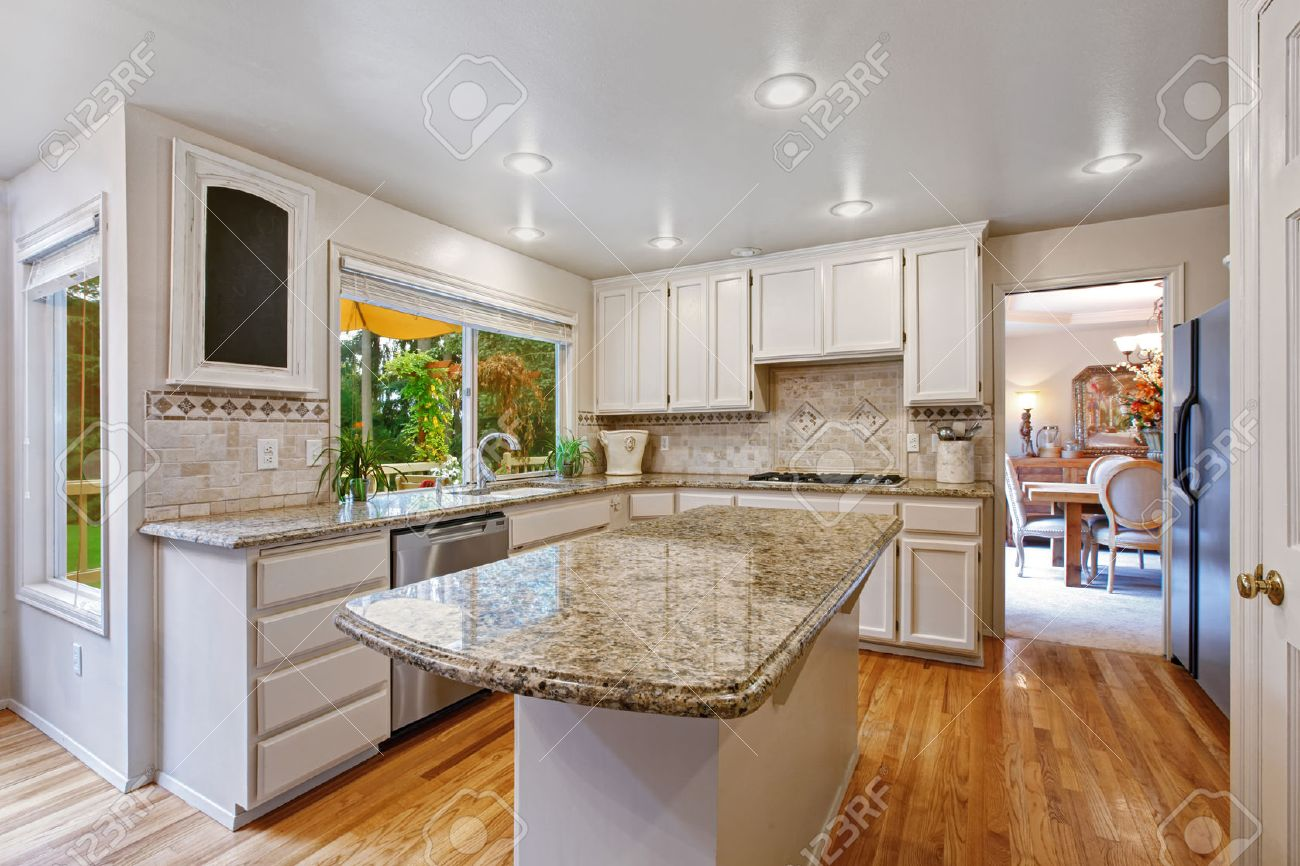 Kitchen Room With White Storage Combination. Kitchen Island With ...