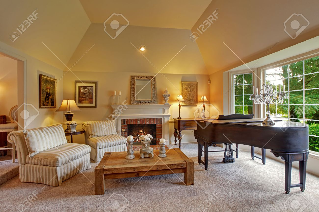Luxury Family Room With High Vaulted Ceiling And Large French