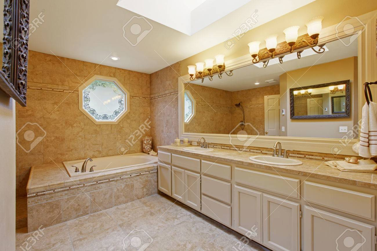 Luxury Bathroom Interior With Tile Trim And Big Vanity Cabinet Stock Photo Picture And Royalty Free Image Image 32753734