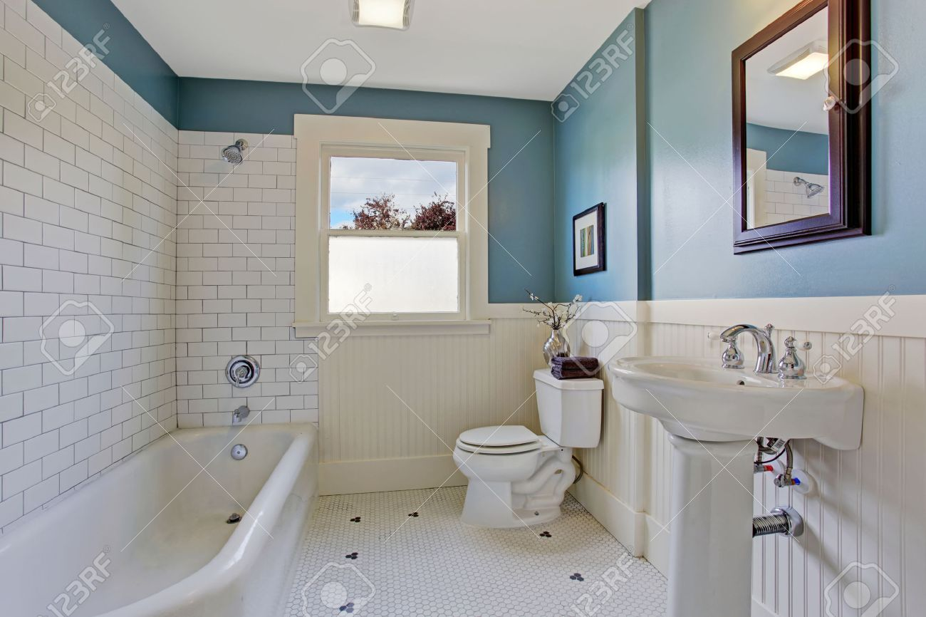 bathroom interior with blue wall and white plank panel trim