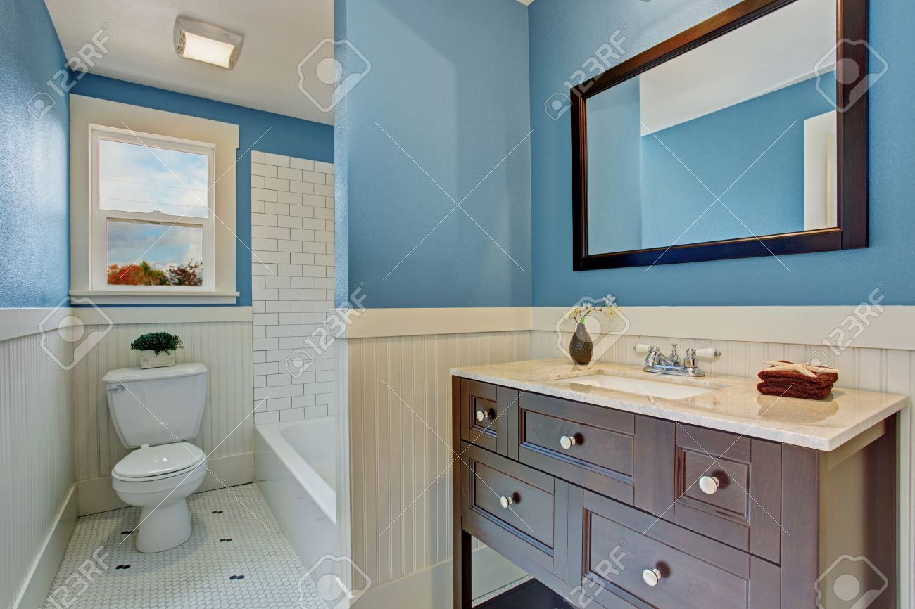 Bathroom Interior With Blue Wall And White Plank Panel Trim... Stock ...